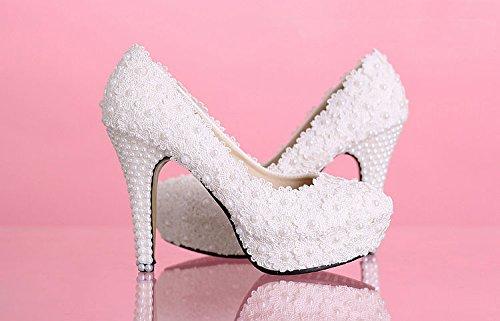 JINGXINSTORE Spitze weiß weiß weiß elfenbein Kristall Hochzeit Schuhe Braut Wohnungen Niedrig High Heel Pump Größe 5-12 11cm/4inch 491909