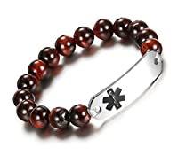 JF.JEWELRY Medical ID Alert Bracelets Beaded Stretch With Stainless Steel Tag Bracelet-Custom Engraved