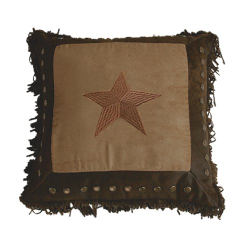 HiEnd Accents Western Embroidered Star Pillow with Metal Studs and Fringe