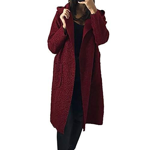 Belted Shearling Belt - Hunzed women coat Long-Sleeved Warm Coat Hooded Long Comfortable Belt Plush Coat (Small, Wine)