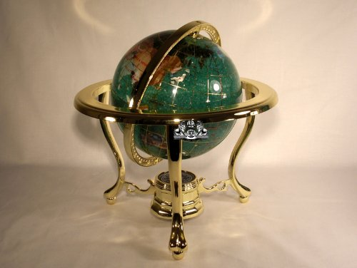 Unique Art 10-Inch by 6-Inch Green Crysbyite Ocean Table Top Gemstone World Globe with Gold Tripod