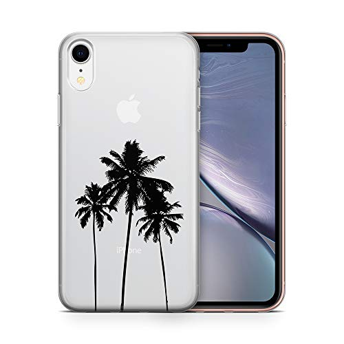 uCOLOR Case Compatible for iPhone XR(6.1 inch),Palm Tree Shockproof Crystal Clear TPU Bumper + Hard Back Protective Cover Compatible for iPhone XR