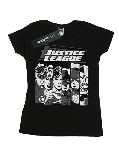 Raqvy Mujer Dc Camiseta Comics Justice League Stripes Negro OE0qdw0