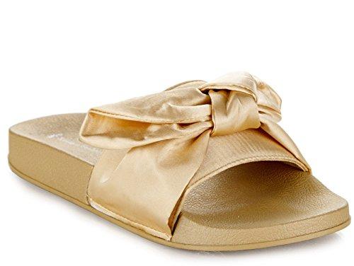 RF ROOM OF FASHION Kaden-10 Slide Sandals (Champagne Silk Size 7.5)