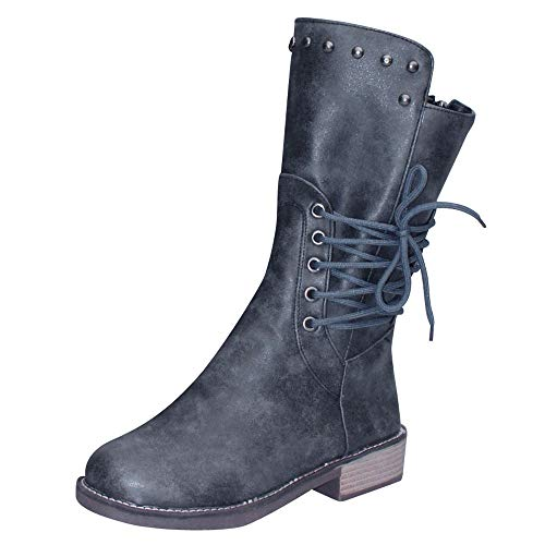 COPPEN Women Martin Boots Square Heel Rivets Shoes Middle Tube Zipper Round Toe Shoes