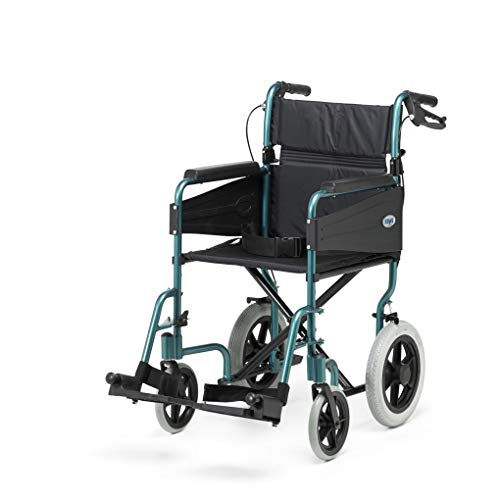 Days Escape Lite Aluminium Wheelchair, Lightweight and Foldable Frame, Attendant-Propelled Wheelchair, Portable Transit Travel Chair, Removable Footrests, Standard, Racing Green