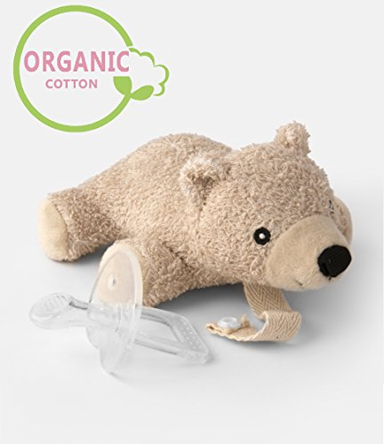 Organic Pacifier Holder- Orthodontic Baby Pacifier with Animal & Microwaveable Soothie & Natural Teether & Pacifier Clip - PureLittle Bear: Natural Pacifier Stuffed Animal Paci Plushies Binky Buddy