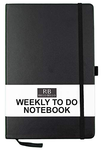 RICCO BELLO A5 Weekly to Do Hardcover Calendar Notebook with Checklist, 5.7 x 8.4 in. (Black)