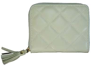 Buxton Quilted Zip Around Slim Cardex Wallet for Women (Bone)