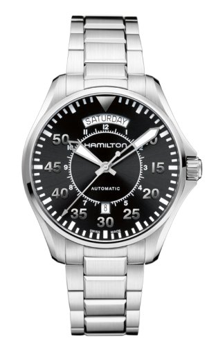 Hamilton Men's 'Khaki Aviation' Swiss Automatic Stainless Steel Dress Watch, Color:Silver-Toned (Model: (Hamilton Pilot)