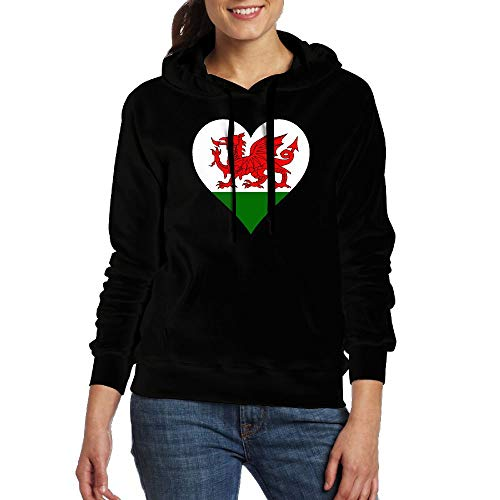 Ladies Welsh Dragon Flag Heart Junior Graphic Adult Pullover Hooded Sweatshirt with Pockets
