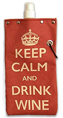 Tote & Able Keep Calm and Drink Wine Water,Wine and Beverage Canvas Reusable Flask Bottle & Tote Carrier 750ml/26oz