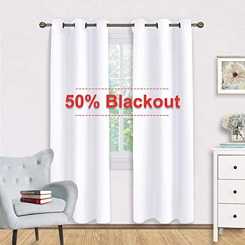 NICETOWN 50% Blackout White Curtain Set - Modern Design Solid Grommet Draperies/Drapes for Living Room, Window Dressing for Patio Door (2 Panels, 42 by 72) (Patio Design Modern)