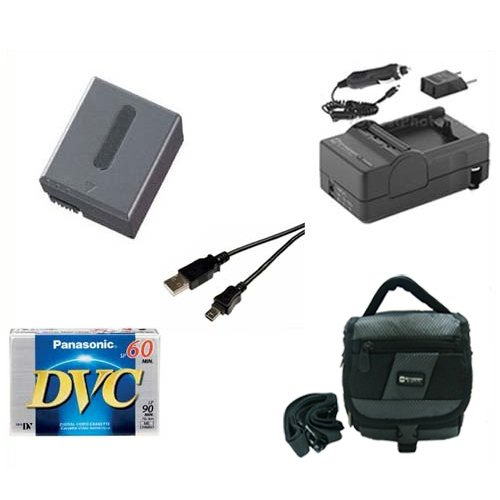 Sony DCR-PC350 Camcorder Accessory Kit includes: SDM-102 Charger, SDNPFF70 Battery, SDC-27 Case, DVTAPE Tape/Media, USB5PIN USB Cable ()