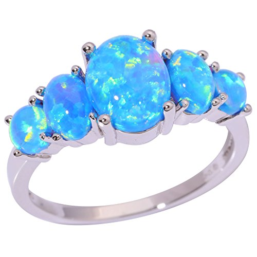 CiNily Christmas Jewelry Gifts Blue Fire Opal Silver Women Jewelry Gemstone Ring Size 5-12 (7)