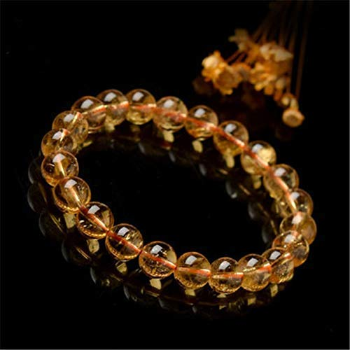 Handmade Natural Ultimate Wealth Bracelet - Citrine Semi-Precious - Gemstone Round Bead Stretch Bracelet - Bring Wealth, Prosperity and Success - Protection Bracelet 8mm
