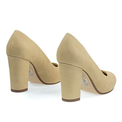 Comfortable Foam Padded Chunky Block Heel Dress Pump, Womens Office Shoe Natural Beige