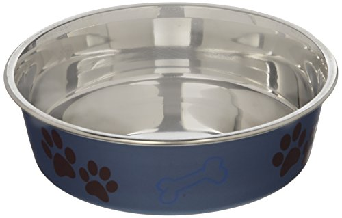 Loving Pets Metallic Bella Bowl, Medium, Blueberry - Medium Dog Bowl
