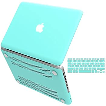 "iBenzer Basic Soft-Touch Series Plastic Hard Case & Keyboard Cover for Apple MacBook Pro 13-inch 13"" with CD-ROM A1278 (Previous Generation) (Aqua)"