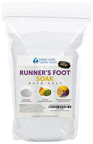Runner's Foot Soak 32 Ounces Epsom Salt with Lavender, Lemon, Tea Tree, Eucalyptus and Ginger Essential Oils Plus Vitamin C and All Natural Ingredients