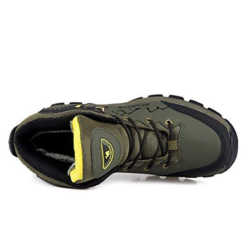 Showlovein Herren Wanderschuhe Baumwolle Schneestiefel Outdoor Wasserdicht Gleitsicher Stiefel mit Perfekter Dampfung Dicker Grun