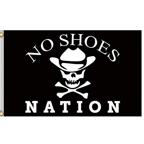 - ForstONE No Shoes Nation Flag Banner with Grommets - 3x5 Feet Printed Polyester Flag Kenny Chesney Garage White Skull Bone Signature for Party Home Outdoor Decor