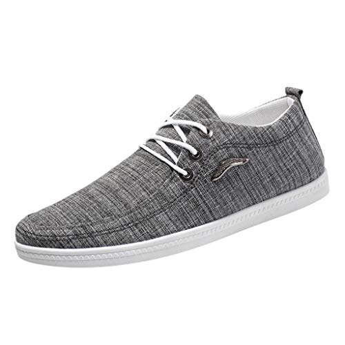 Cenglings Men's Santa Cruz Loafer Casual Comfort Slip On Lightweight Beach or Travel Shoes Lace Up Canvas Sneakers Shoes Gray ()