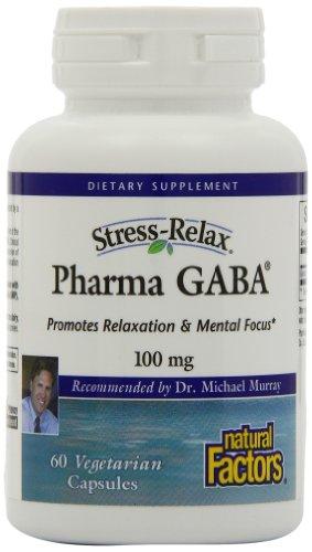 Natural Factors Stress-Relax Pharma Gaba, 100 mg, Veg Capsules, 60-Count