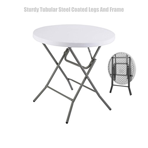 Heavy Duty Constructed Light-weight Portable Multipurpose Round Table High Density Molded Plastic Powder Coated Steel Frame Folding Indoor-Outdoor Party Dining Laptop Desk #1365 (Made Doors Closet Mirror Custom)