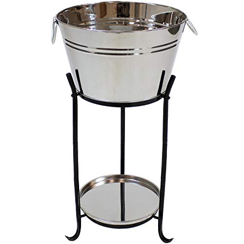 Holiday Ice Bucket - Sunnydaze Ice Bucket Drink Cooler with Stand and Tray for Parties, Stainless Steel, Holds Beer, Wine, Champagne and More
