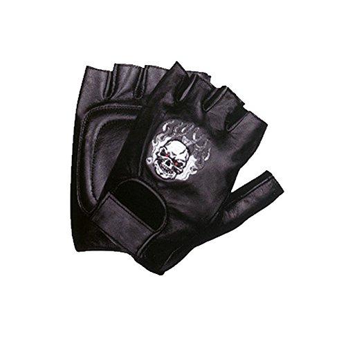 Motorcycle Biker Leather Fingerless Skull Flame Gloves MEDIUM