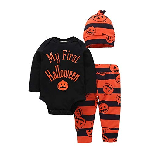 FEDULK 3PCs Halloween Toddler Baby Outfit Letter Print Romper+Pumpkin Print Pants+Hat Set Outfit(Black, ()