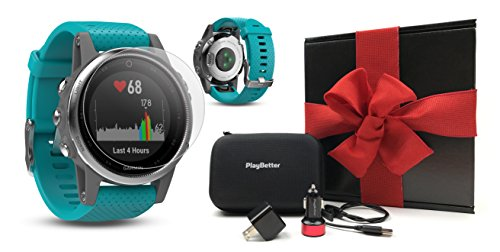 Cheap Garmin fenix 5S (Silver with Turquoise Band) GIFT BOX Bundle | Includes HD Screen Protector, PlayBetter USB Car/Wall Adapter & Hard Case | Multi-Sport GPS Fitness Watch, Wrist-HR | Black Gift Box
