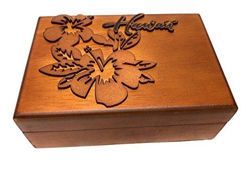 Tikimaster Wooden Jewelry Keepsake Box w/Hibiscus Design | #R5275
