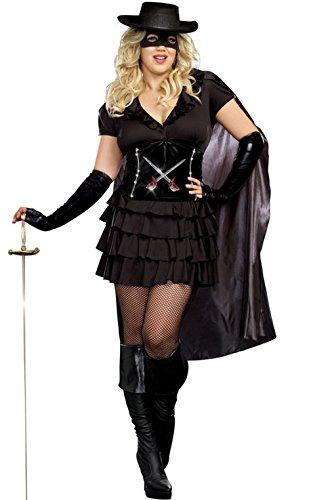 [Mememall Fashion Masked Bandit Double-Edged Diva Plus Size Costume] (Masked Bandit Costume)