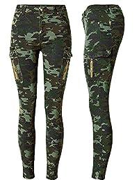 lexiart Camo Pants Women U.S.A Size - Stretch Women Joggers 5 Pockets Camoflauge Legging