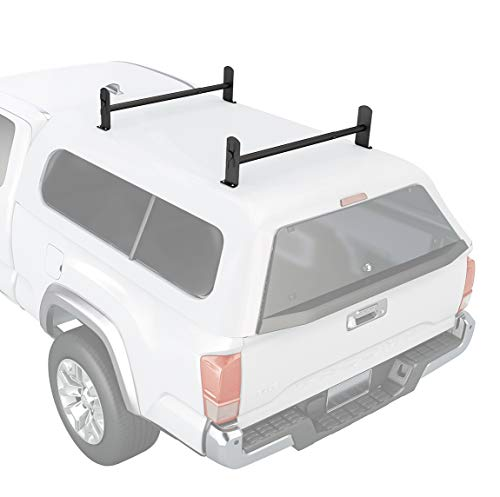 AA-Racks Model DX36 Universal Pickup Truck Cap & Topper 2 Bar Ladder Roof Van Rack System Adjustable Steel Cross Bars - Sandy Black