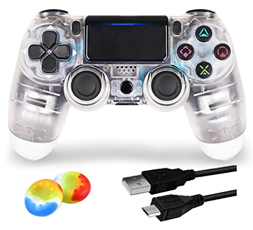 Juego Game Controller for PS4,Wireless Controller for Playstation 4/ Windows/ Android/iOS, Crystal White