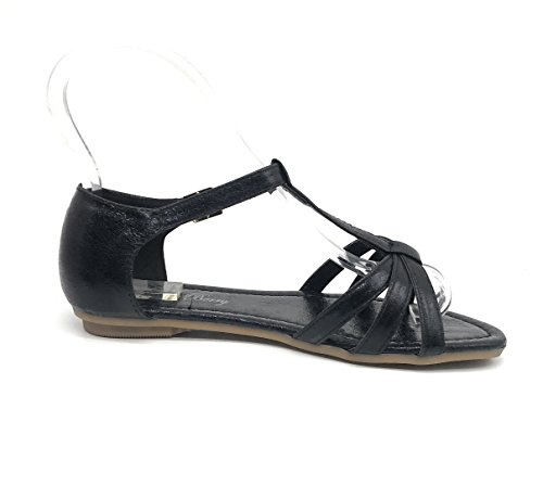 Blue Berry Easy21 Donna Casual Moda Sandali Flats Nero08