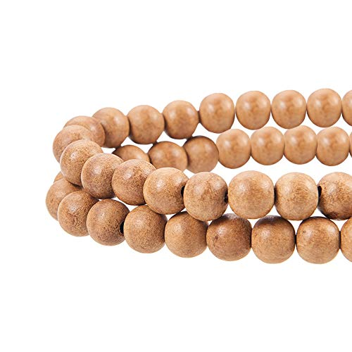 PH PandaHall About 100pcs 8mm Natural Round Polished Sandalwood Loose Beads for Jewelry Making DIY Handmade Craft, ()