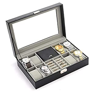 PENGKE 8 Slots Watch Box,PU Leather Watch Organizer and Jewelry or Rings Display Case with Glass Lid, Black Pack of 1
