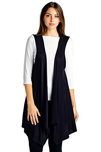 Modern Kiwi Open Asymmetrical Hem Vest Black One Size