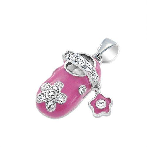 Bling Jewelry Sterling Silver Pink Enamel CZ Baby Shoe Charm Pendant - Pink Enamel Shoe Charm