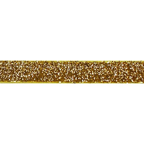 "YYCRAFT 5 Yards Glitter 5/8"" Elastic Ribbon for Hair Ties Headbands (Gold)"