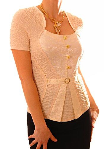 Poshtops - Camiseta - para mujer crema