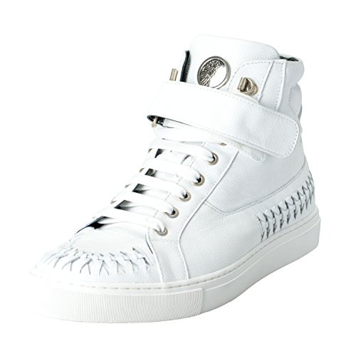 Versace Collection Men's White Leather Hi Top Fashion Sneakers Shoes Size US 8 IT - Top Mens Versace