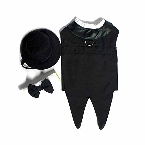 Doggie Design Black Formal Tuxedo Dog Harness with Tails, in Size Medium (Chest 16-19 Neck 13-16 - Pets weighting 11-15lbs) Removable Collar with Bow Tie, Top Hat and matching Leash