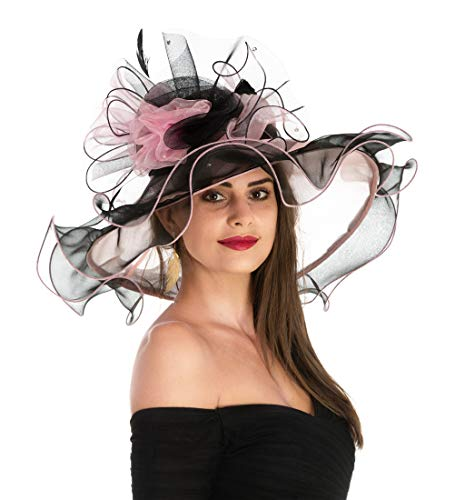 Women's Organza Church Kentucky Derby British Fascinator Bridal Tea Party Wedding Hat Summer Ruffles Cap Detachable as Fascinator(F1-Pink Black Flower)