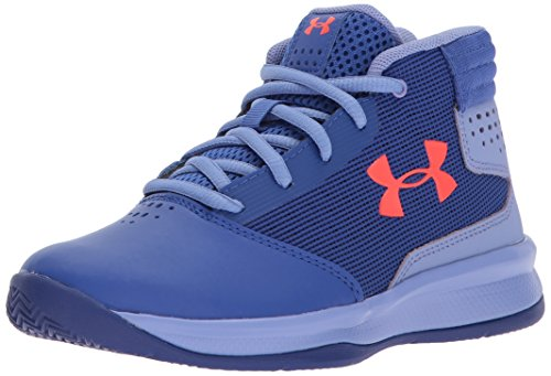 Under Armour Girls' Pre School Jet 2017, Jupiter Blue/Formation Blue/Neon Coral, 11K M US Little Kid (Under Armour Basketball Shoes 11)