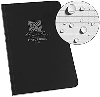 "product image for Pack of 4 J.L. Darling Rite in The Rain Weatherproof Soft Cover Pocket Notebook, 3.5"" x 5"", Black Cover, Universal Pattern (No. 754), 5 x 3.5 x 0.25"